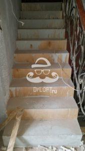 КП Родиники - лестницы облицовка деревом